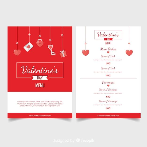 Modello di menu di elementi appeso di san valentino Vettore gratuito