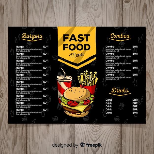 Modello di menu di fast food disegnato a mano Vettore gratuito