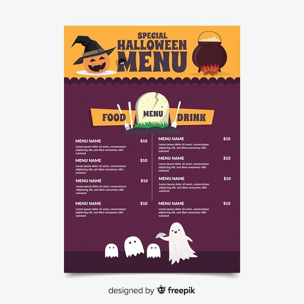 Modello di menu di halloween colorato con design piatto Vettore gratuito