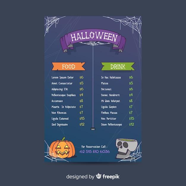 Modello di menu di halloween su design piatto Vettore gratuito