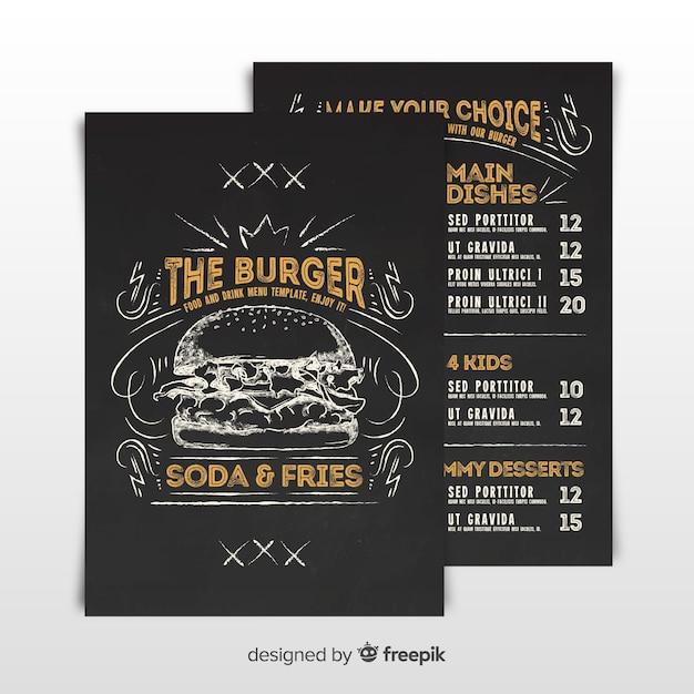 Modello di menu di hamburger d'epoca Vettore gratuito