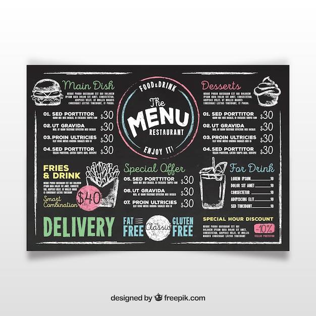 Modello di menu di lavagna Vettore gratuito