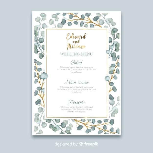 Modello di menu di matrimonio floreale dell'acquerello Vettore gratuito