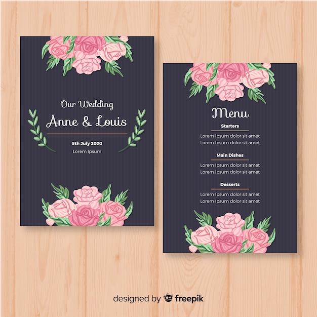 Modello di menu di matrimonio floreale disegnato a mano Vettore gratuito