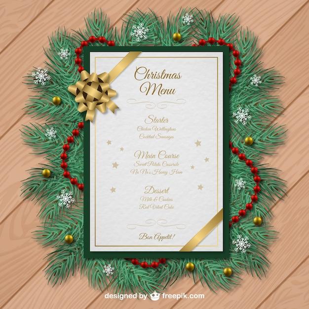 Modello di menu di Natale con decorazioni ghirlanda Vettore Premium