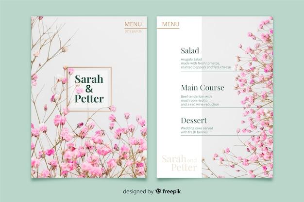 Modello di menu di nozze con foto Vettore gratuito