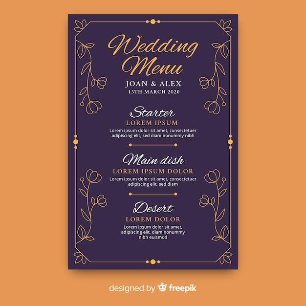 Modello di menu di nozze disegnato a mano Vettore gratuito