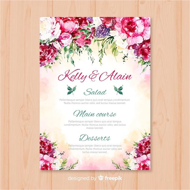 Modello di menu di nozze natura dell'acquerello Vettore gratuito