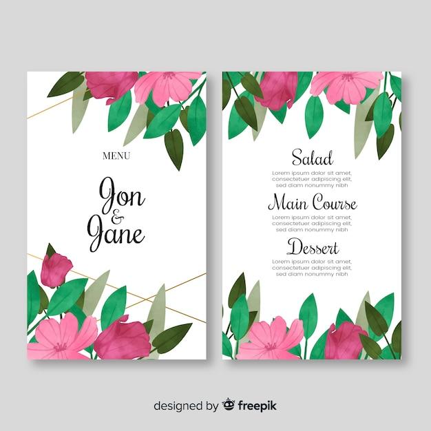 Modello di menu di nozze stile acquerello Vettore gratuito