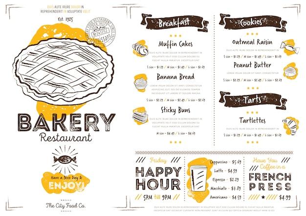 Modello di menu di panetteria ristorante caffetteria Vettore Premium