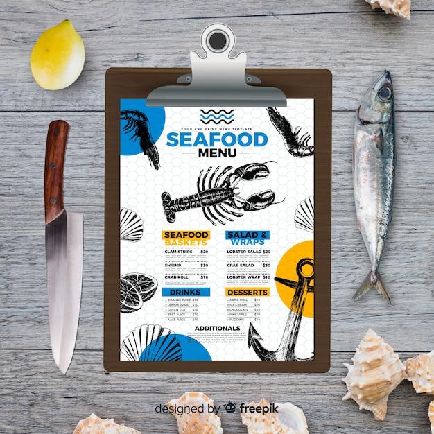 Modello di menu di pesce in stile vintage Vettore gratuito