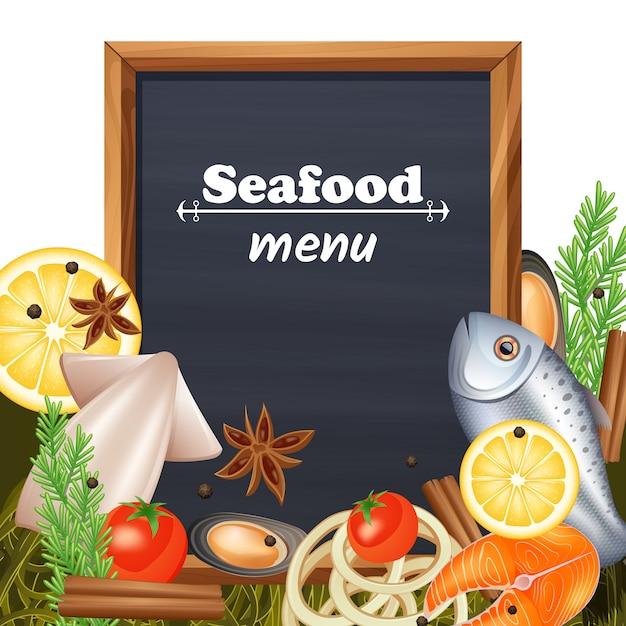 Modello di menu di pesce Vettore gratuito