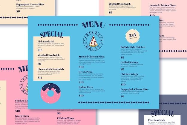 Modello di menu di pizza e dessert Vettore gratuito
