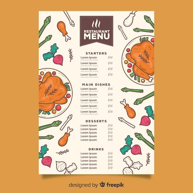 Modello di menu di pollo ripieno Vettore gratuito