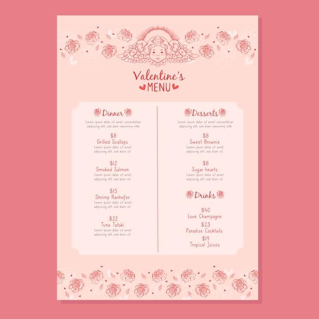 Modello di menu di san valentino disegnati a mano Vettore gratuito