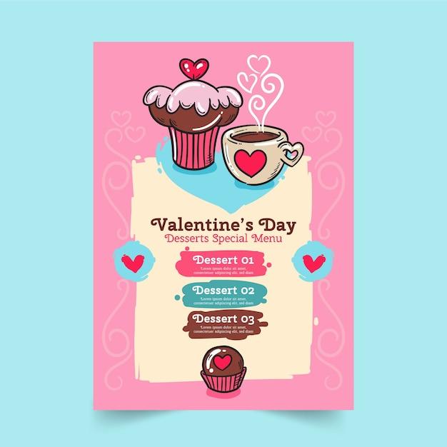 Modello di menu di san valentino disegnato a mano Vettore gratuito