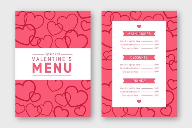 Modello di menu di san valentino in design piatto Vettore gratuito