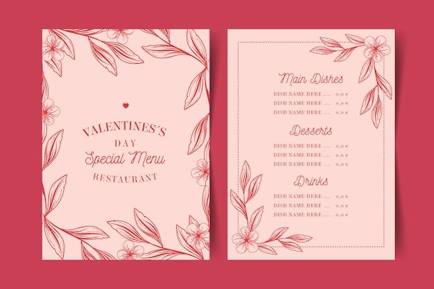 Modello di menu di san valentino vintage Vettore gratuito