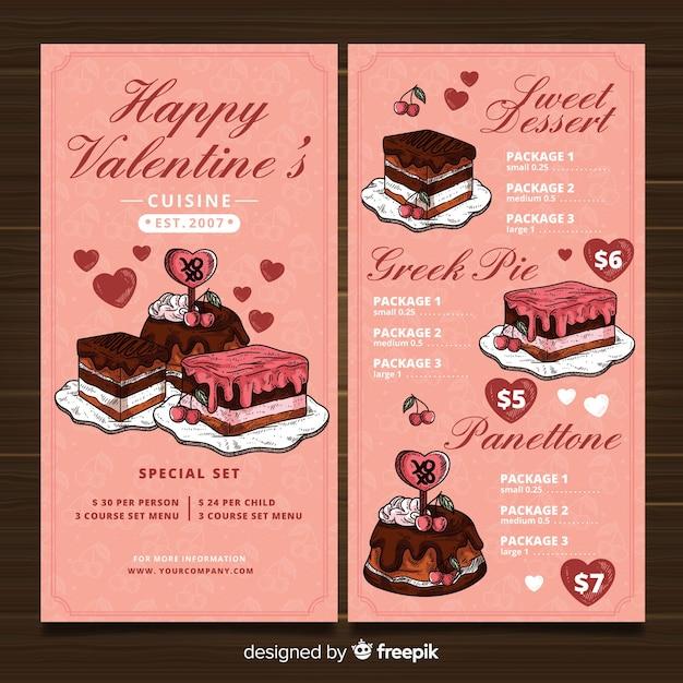 Modello di menu di san valentino Vettore gratuito