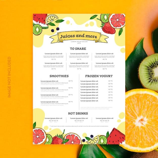 Modello di menu di succhi e frullati Vettore gratuito