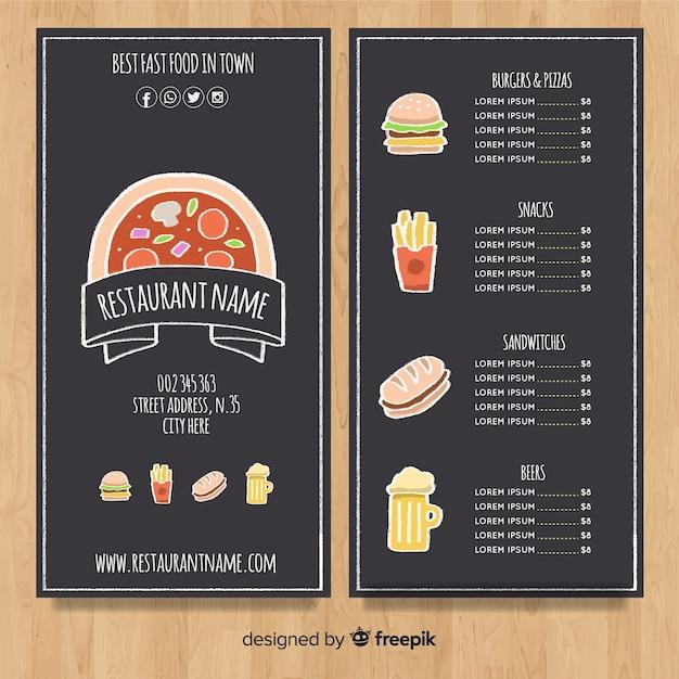 Modello di menu disegnato a mano elegante Vettore gratuito