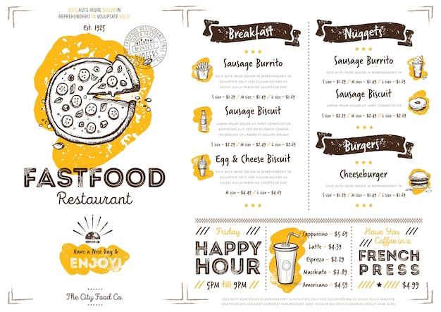 Modello di menu fast food ristorante caffetteria Vettore Premium