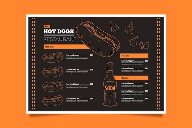 Modello di menu fast food Vettore gratuito