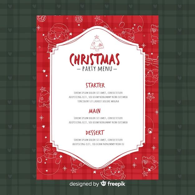 Menu Per Le Feste Di Natale.Modello Di Menu Festa Di Natale Scaricare Vettori Gratis