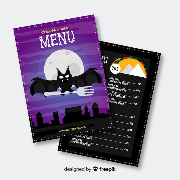 Modello di menu halloween design piatto Vettore gratuito