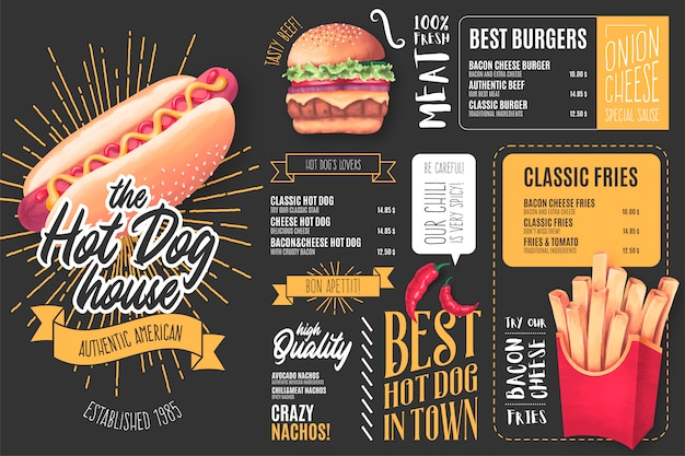 Modello di menu per hot dog restaurant con illustrazioni Vettore gratuito