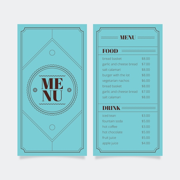 Modello di menu per ristorante con cornice Vettore gratuito