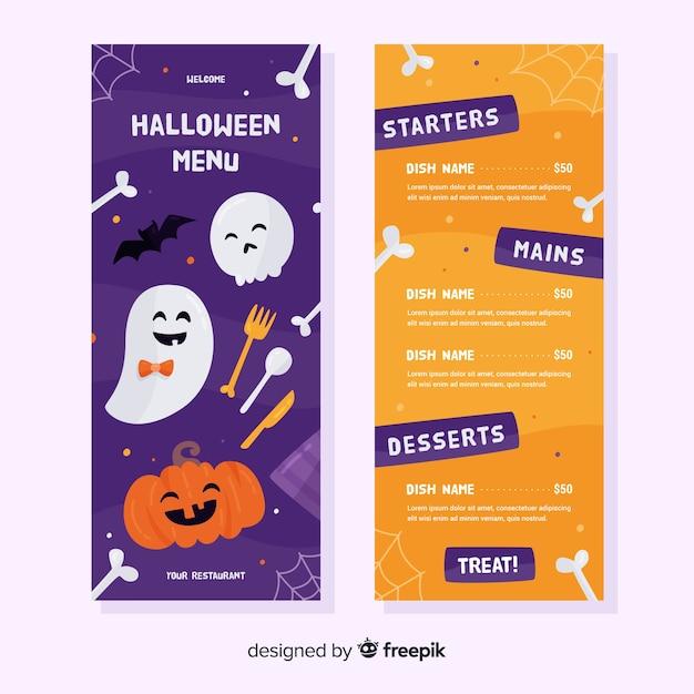 Modello di menu piatto con motivo di halloween Vettore gratuito