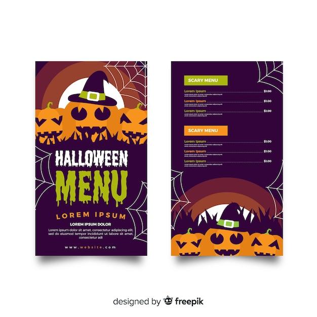 Modello di menu piatto di halloween con zucche Vettore gratuito