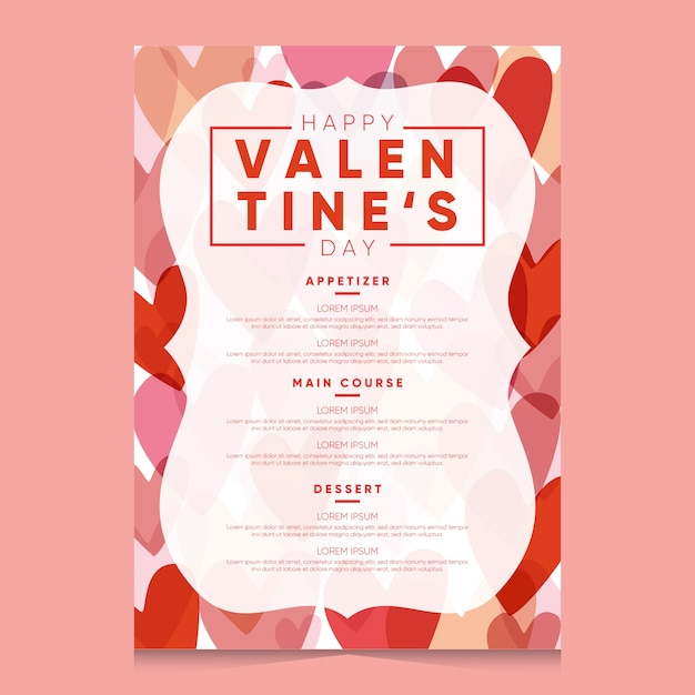 Modello di menu piatto di san valentino Vettore gratuito