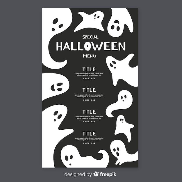Modello di menu piatto halloween con fantasmi Vettore gratuito