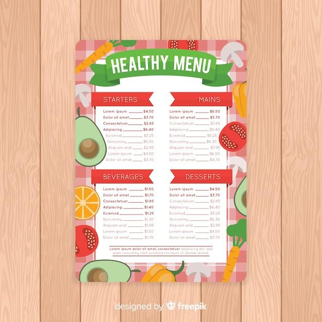 Modello di menu piatto sano Vettore gratuito