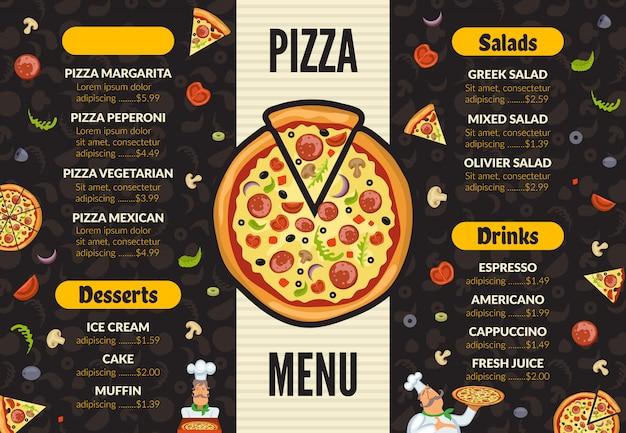 Modello di menu pizzeria. ingredienti italiani della pizza dell'alimento di cucina della cucina che cucinano il fondo dei dessert e del pranzo Vettore Premium