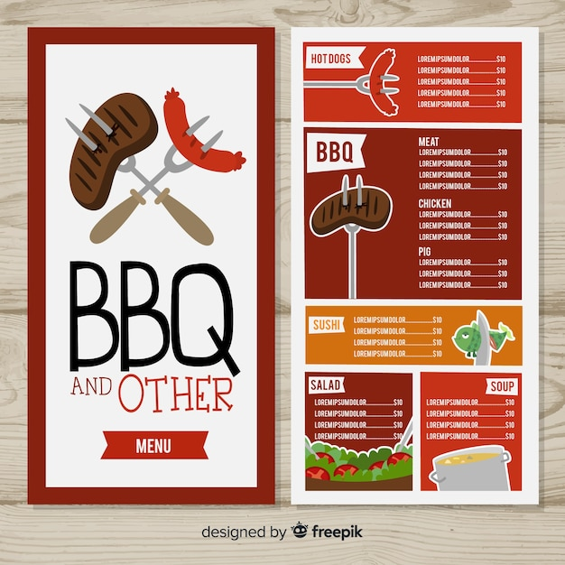 Modello di menu ristorante bbq Vettore gratuito
