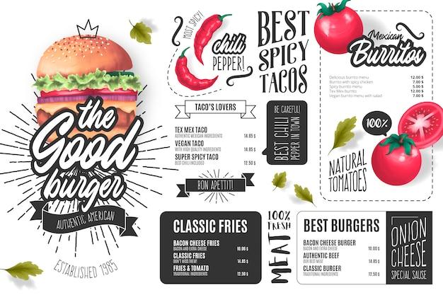 Modello di menu ristorante burger con illustrazioni Vettore gratuito