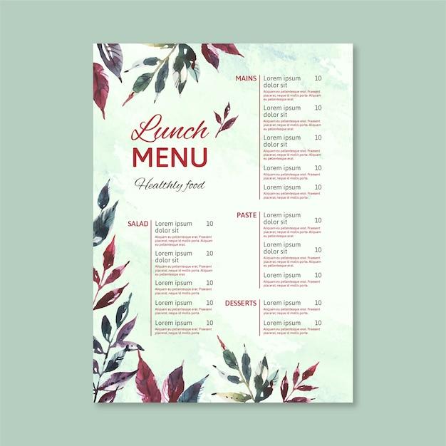 Modello di menu ristorante cibo sano vintage Vettore gratuito
