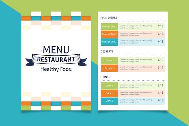 Modello di menu ristorante colorato Vettore gratuito