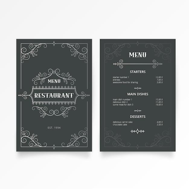 Modello di menu ristorante con eleganti ornamenti Vettore gratuito
