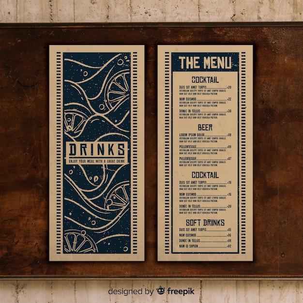 Modello di menu ristorante con foto Vettore gratuito