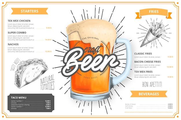 Modello di menu ristorante con illustrazione di birra artigianale Vettore gratuito
