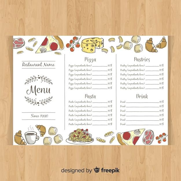 Modello di menu ristorante disegnato a mano colorata Vettore gratuito