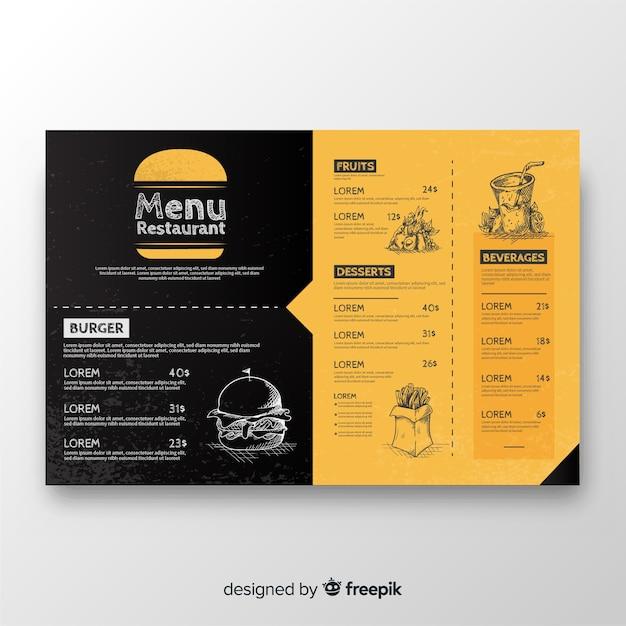 Modello di menu ristorante disegnato a mano Vettore gratuito