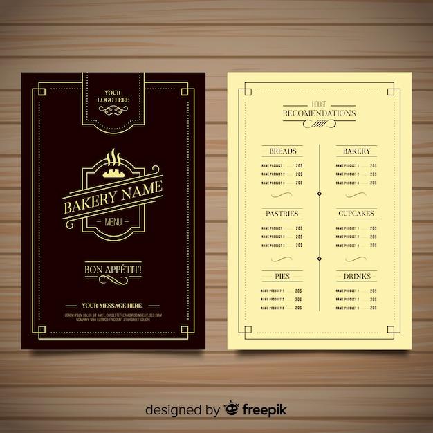 Modello di menu ristorante elegante con ornamenti d'epoca Vettore gratuito