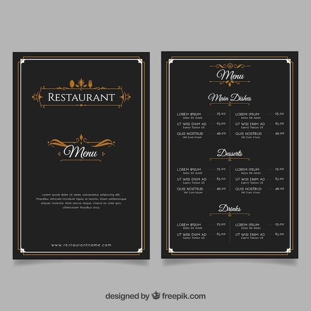 Modello di menu ristorante elegante Vettore gratuito