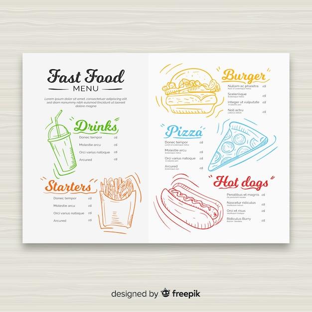 Modello di menu ristorante fast food disegnato a mano Vettore gratuito