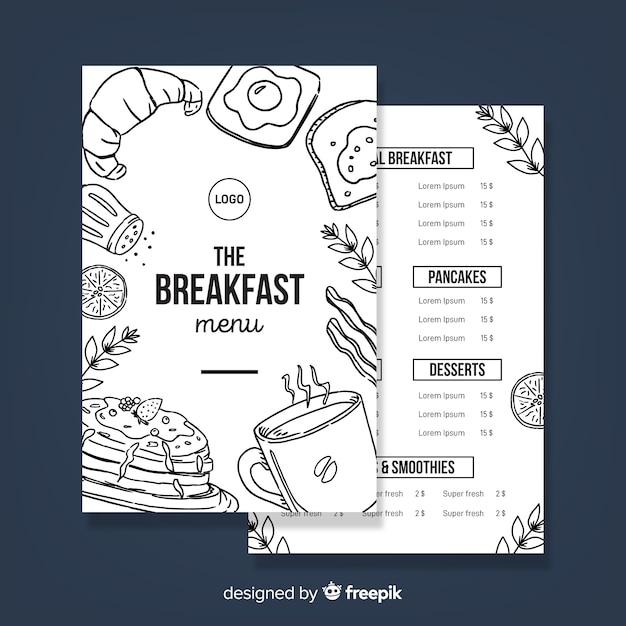 Modello di menu ristorante moderno disegnato a mano Vettore gratuito